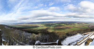 view from Kyffhaeuser monument tio the valley and rural area...