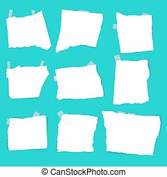 set of paper scraps - Notepaper sheets with shadow. Set of...