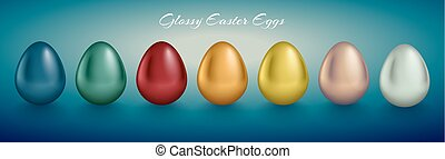 Glossy metallic egg set. Golden, silver, blue, red, green, orange, yellow, white color reflect paint. Turquoise deep retro background. Horizontal collection for Easter card or banner design