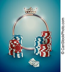 Round casino roulette golden frame with crown, stack of poker chips and white dice on deep turquoise background. Gambling online club vintage effect poster design