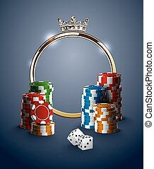 Round casino roulette golden frame with crown, stack of poker chips and white dice on deep blue background. Gambling online club vintage poster