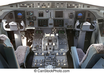 cockpit of a twin engined airliner