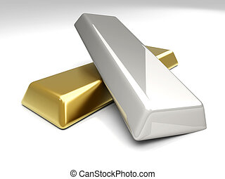 Gold and Silver - 3D rendered Illustration