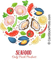 Vector Shellfish poster. Seafood product design. Healthy...