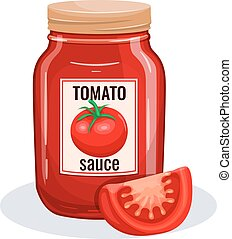 Tomato sauce glass jar. Vector illustration for restaurant...
