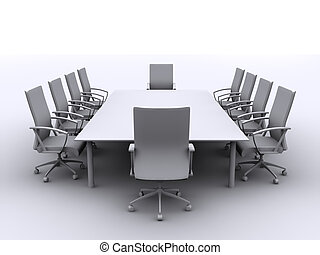 conference table - 3d rendered illustration of chairs around...