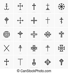 Christian crosses - Set of christian crosses