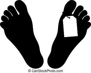 pieds,  morgue, Étiquette