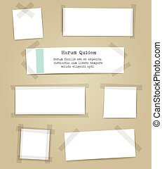 Paper sheets with scotch tape pieces - Vector paper sheets...