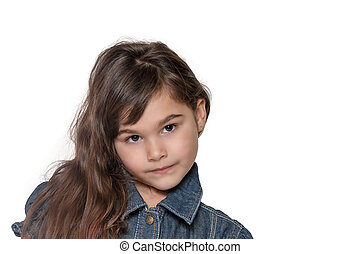 Portrait of long haired littlegirl isolated on the white -...