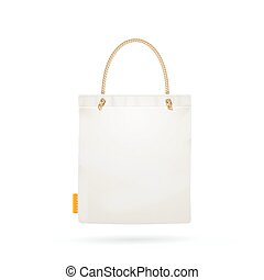 Template Blank White Fabric Cloth Tote Bag. Vector -...