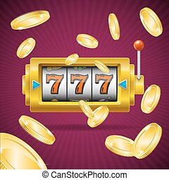 Casino Concept Slot Machine and Golden Coin Falling. Vector