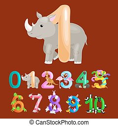 ordinal number 1 for teaching children counting one rhino...