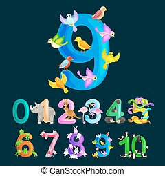 ordinal numbers 9 for teaching children counting nine...