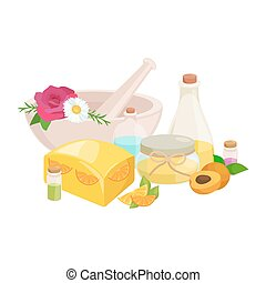 set of natural organic hand made soap with olives vector illustration, body beauty care concept, nature cosmetics aroma bar for herbal handmade spa products collection