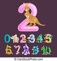 ordinal number 2 for teaching children counting two kangaroo...