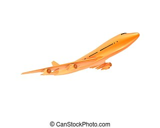 orange plane - 3d rendered illustration of an isolated plane...