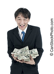Happy businessman holding a lot of US Dollars in his hand,...