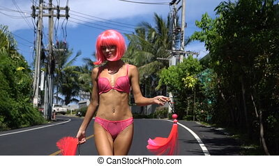 Woman in pink lingerie and wig - Happy sexy beautiful woman...