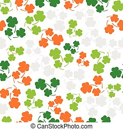 Seamless pattern with three leaf color clover - Vector...