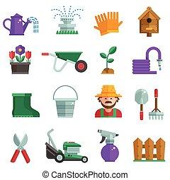 Spring Gardening Icons Set