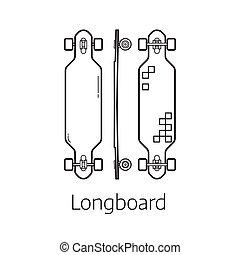 Modern Long board Desk Set - Longboard deck vector...