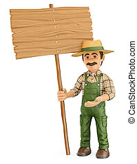 3D Gardener with a blank wooden sign