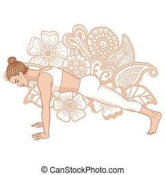 Women silhouette. High plank yoga pose. Uttihita Chaturanga...