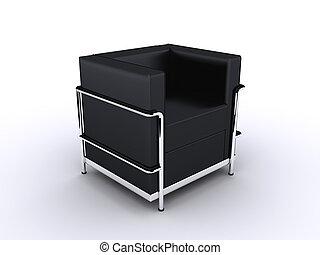 designer seat - 3d rendered illustration of a black leather...