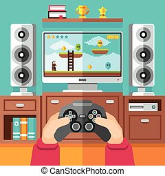 Teenager gaming video game with gamepad and playstation...