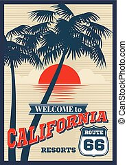 Vintage california vector summer poster, retro t-shirt print