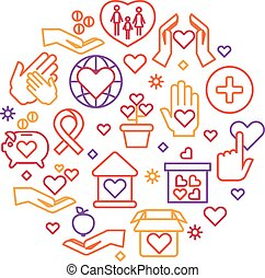 Charity, care, help vector concept, nonprofit and volunteer logo