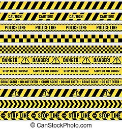 Black and yellow police stripe border, construction, danger...