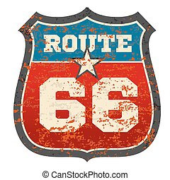 Vintage route 66 road sign with grunge distressed rusted texture vector illustration