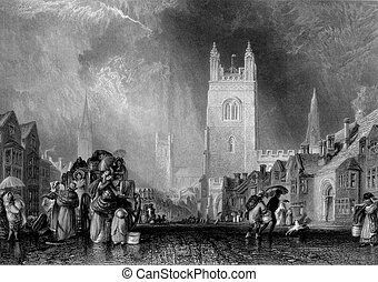 Lincoln town and church - Victorian engraving of people on...