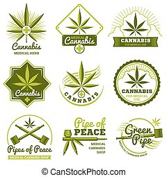 Hashish, rastaman, hemp, cannabis vector logos and labels...