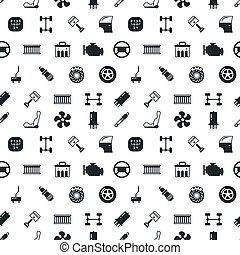 Car spare parts vector seamless pattern with automobile...