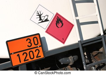 dangerous goods - orange-colored plate with...