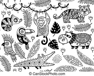Seamless pattern with tropical animals in monochrome style -...