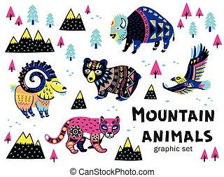 Set of mountain animals