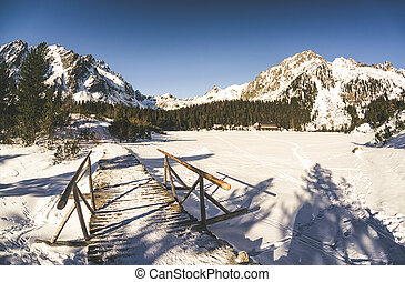 Frozen lake Popradske pleso in High Tatras, Slovakia - Snowy...