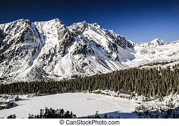 Frozen lake Popradske pleso in High Tatras, Slovakia - Snowy...