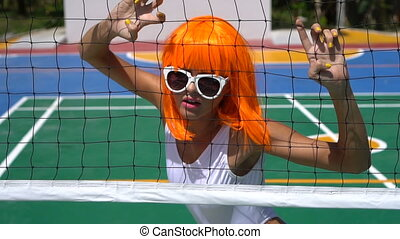 Woman in white swimsuit and orange wig - Sexy beautiful...