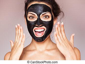 bonito, mulher, Lama, spa, máscara, jovem, rosto, pretas,...