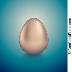 Glossy golden egg. Turquoise deep retro background. Vintage banner, card, poster for Easter, business benefit concept