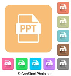 PPT file format rounded square flat icons - PPT file format...