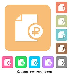 Ruble financial report rounded square flat icons - Ruble...