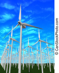 windmills - 3d rendered illustration of many windmills