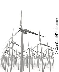 windmills - 3d rendered illustration of many isolated...
