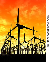 windmills - 3d rendered illustration of many windmills in...